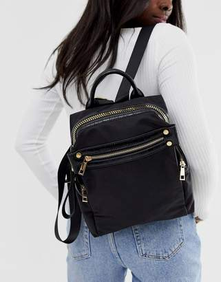 Asos Design DESIGN backpack with chunky zip and croc detail