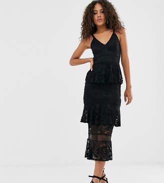 Little Mistress Tall lace tiered midi dress in black