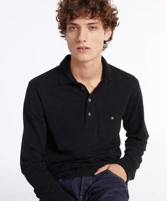 Todd Snyder Long Sleeve Heavy Weight Polo in Dark Navy