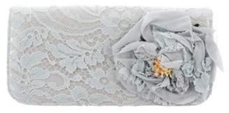 Dolce & Gabbana Lace-Overlay Satin Clutch Blue Lace-Overlay Satin Clutch