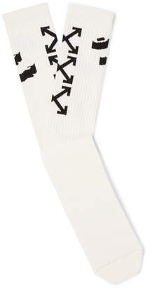 Off-White Logo-Intarsia Stretch Cotton-Blend Socks