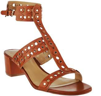 Marc Fisher Leather T-strap Block Heel Sandals - Johnay