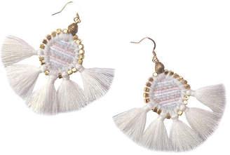 Gaia Odette Tassel Earrings - White/Brass
