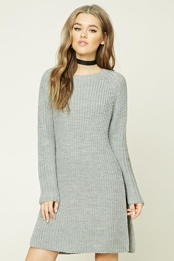 FOREVER 21+ Longline Side-Slit Sweater