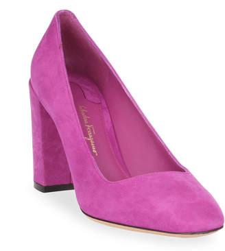 Salvatore Ferragamo Arezzo 85 pink suede pump