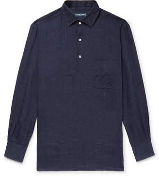 Frescobol Carioca Slub Linen Half-Placket Shirt