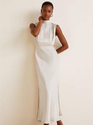 MANGO Tie Back Maxi Dress - Ivory White