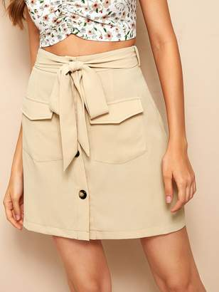 36a5231d472 Shein Button Front Flap Pocket Belted Skirt