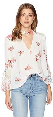 Lucky Brand Women's Mixed Print Choker Top