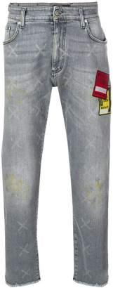 Represent patch slim-fit jeans