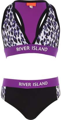 River Island Girls purple leopard print bikini