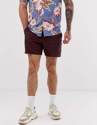 Asos Design DESIGN shorter cargo shorts in plum