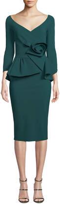 Chiara Boni Almunda Peplum & 3D Flower Dress