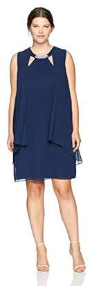 S.L. Fashions Women's Plus Size Sleeveless Cutout Dress with Pearl Neckline
