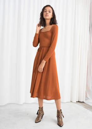 And other stories Square Neck Midi Dress