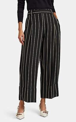 Cédric Charlier Women's Striped Wide-Leg Trousers - Black Pat.