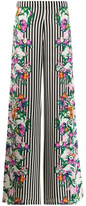 Saloni mixed print wide-leg trousers