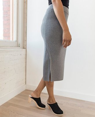 Women Soft Midi Skirt In Cotton Cashmere $98 thestylecure.com