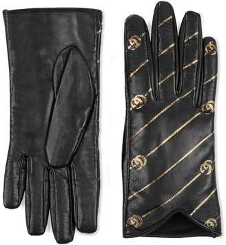 Gucci Leather gloves with Double G stripe print