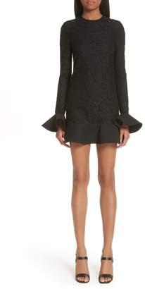 Valentino Ruffle Hem Lace Dress