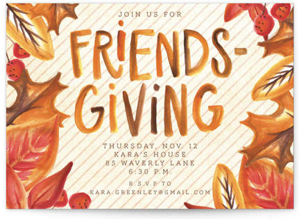 Leafy Friendsgiving Holiday Party Invitations