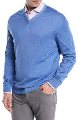 Kiton Washed Cashmere-Silk V-Neck Sweater, Blue