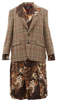 Junya Watanabe Checked And Floral Print Layered Jacket - Womens - Brown Multi