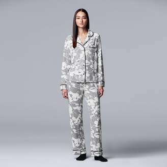 Vera Wang Women's Simply Vera Notch Collar Shirt, Pants & Socks Pajama Set