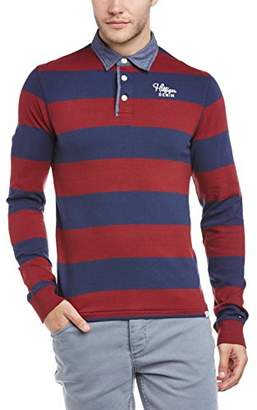 Tommy Jeans Hilfiger Denim Men's Tesso Striped Button Front Long Sleeve Polo Shirt