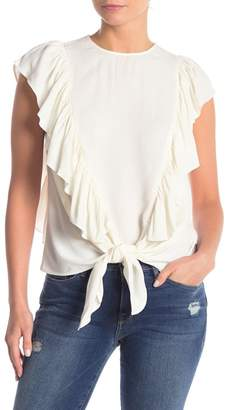 Frame Ruffled Tie Front Button Blouse