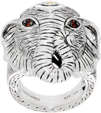 Jai JAI Sterling Silver & 14K Gold Gemstone Figural Elephant Ring