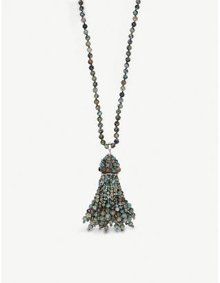 Kendra Scott Sylvia rhodium-plated and African turquoise tassel pendant necklace