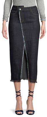 Mo&Co. Raw-Edge Denim Midi Skirt