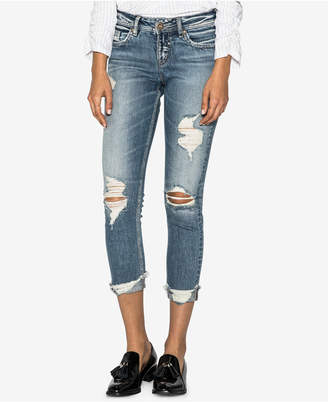 Silver Jeans Co. Suki Curvy-Fit Ripped Skinny Cropped Jeans