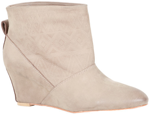 Cynthia Vincent Gwen Embossed Suede Wedge Bootie