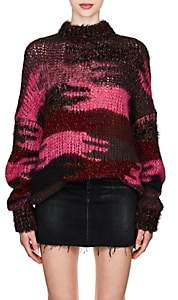 Saint Laurent Women's Camouflage Mohair-Blend Oversized Sweater - Pink