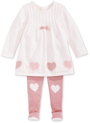 First Impressions Baby Girls Hearts Sweater Dress & Footed Tights Set, Created for Macy's