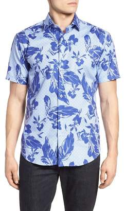 Bugatchi Shaped Fit Leaf Print Sport Shirt