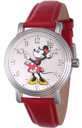 Disney Disney, Articulating Classic Minnie Mouse Red Polka Dot Dress Women's Silver Vintage Alloy Watch, Red Leather Strap