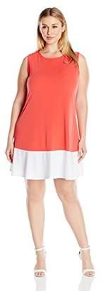 Tiana B Women's Plus-Size Sleeveless Color Block Swing Dress