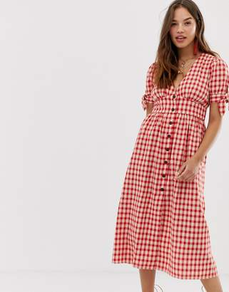 Moon River gingham midi dress