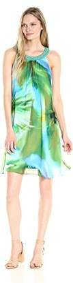 Robbie Bee Women's Printed Watercolor Chiffon Shift Dress with Beaded Neckline
