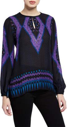 Kobi Halperin Abbie Long-Sleeve Ikat-Print Blouse