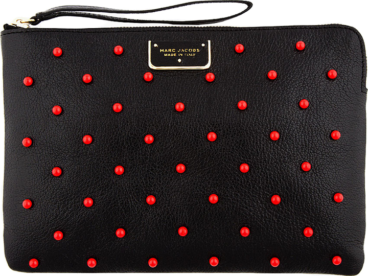 Marc Jacobs Black Leather Red-Studded The Deluxe Clutch