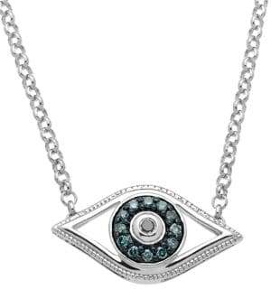 Lord & Taylor Sterling Silver Evil Eye Pendant Necklace with Green and Black Diamonds