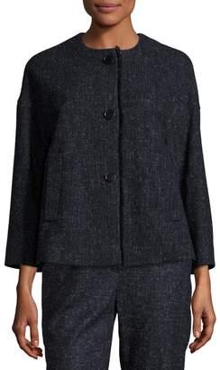 Escada Snowflake Tweed Fringe-Trim Jacket