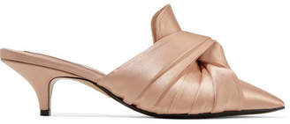 No.21 No. 21 - Knotted Satin Mules - Beige
