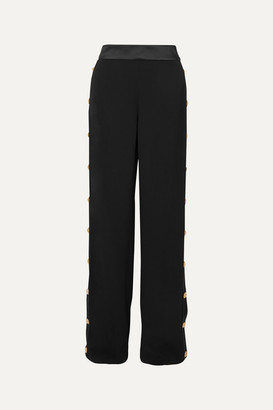 Balmain Button-embellished Crepe Wide-leg Track Pants - Black