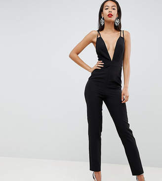 0cd7fabab9 Asos Tall DESIGN Tall jumpsuit with plunge neck and peg leg