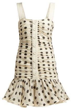 Zimmermann Corsage Ruched Linen Blend Mini Dress - Womens - Black White